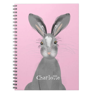 Cute Grey Hare Whimsy Illustration Personalized Notebooks