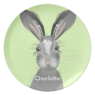 Cute Grey Hare Whimsy Illustration Plate