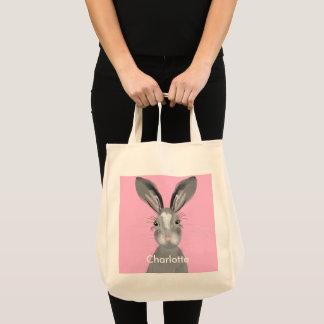 Cute Grey Hare Whimsy Illustration Tote Bag