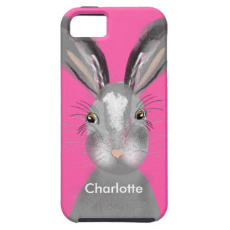 Cute Grey Hare Whimsy Illustration Tough iPhone 5 Case