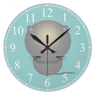 Cute Grey Kitten Kids Clock