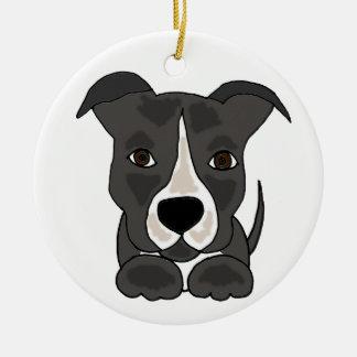 Cute Grey Pitbull Puppy Dog Christmas Ornament