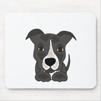 Cute Grey Pitbull Puppy Dog Mouse Pad
