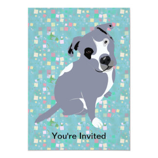 Cute Grey Pitbull Puppy on Squares Pattern 13 Cm X 18 Cm Invitation Card