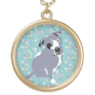 Cute Grey Pitbull Puppy on Squares Pattern Gold Plated Necklace
