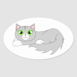 Cute Grey Ragdoll Cat Cartoon Oval Sticker