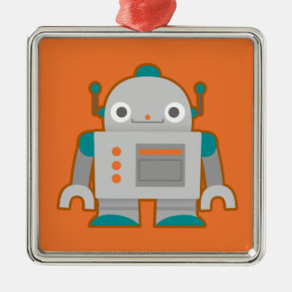 Cute Grey Robot Christmas Ornament