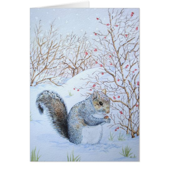 cute grey squirrel snow scene wildlife art card