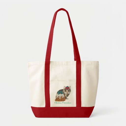 cute grey tabby kitten and Christmas pudding cat Bag