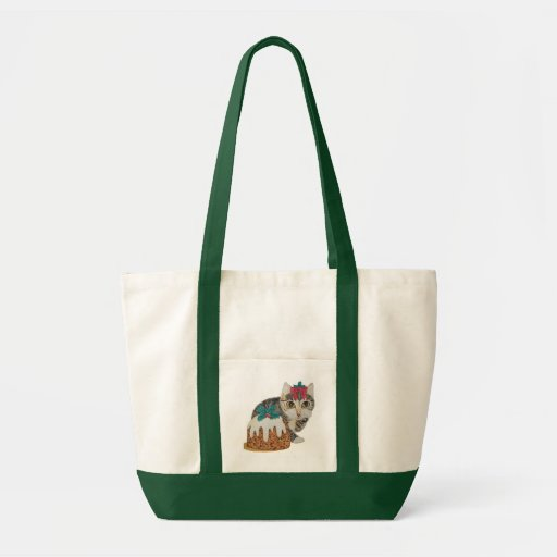 cute grey tabby kitten and Christmas pudding cat Tote Bags