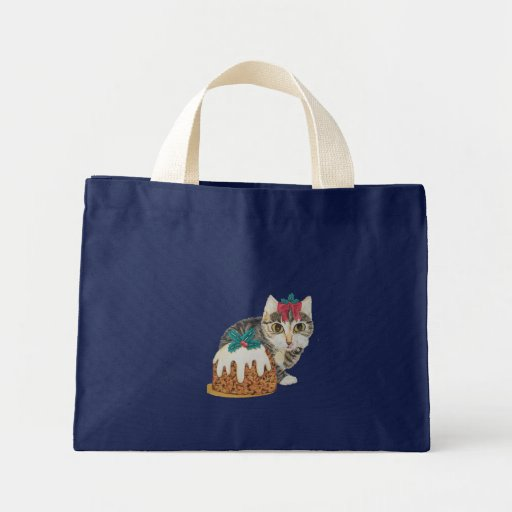 cute grey tabby kitten and Christmas pudding cat Bags
