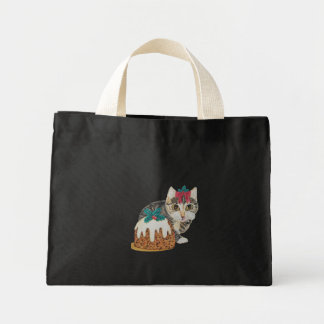 cute grey tabby kitten and Christmas pudding cat Mini Tote Bag