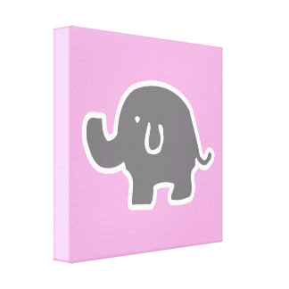 Cute Grey & White Elephant On Pink Canvas Wall Art Canvas Prints