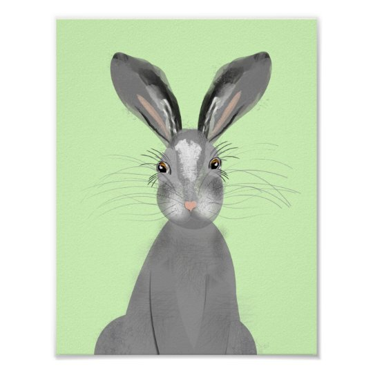 Cute Grey Wild Hare Whimsy Illustration Poster