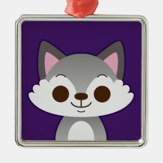 Cute Grey Wolf on Purple Christmas Tree Ornament