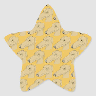 Cute greyhound pattern star sticker