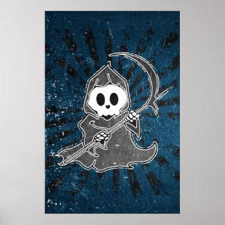 Cute Grim Reaper Blue Poster