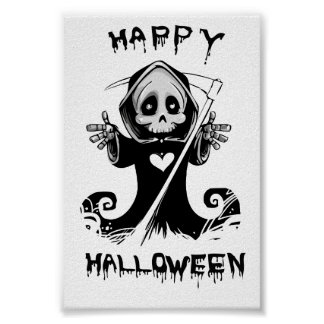 Cute grim reaper halloween poster