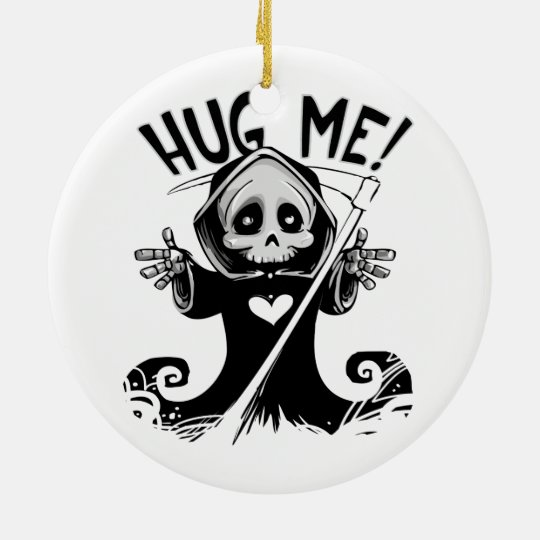 Cute Grim Reaper Hug Me Christmas Ornament