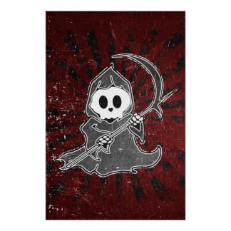 Cute Grim Reaper Red Poster