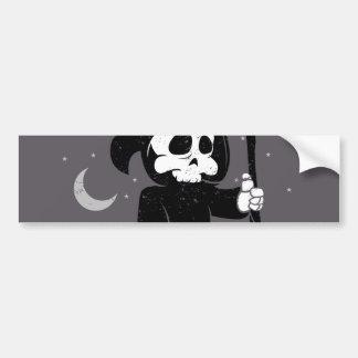 Cute grim reaper with scythe bumper sticker