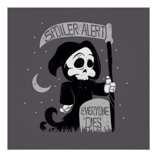 Cute grim reaper with scythe poster