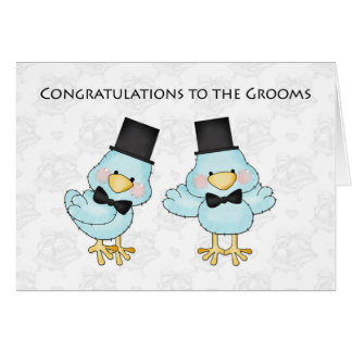 Cute Groom Birds, Gay Men Wedding Congratulations Greeting Card