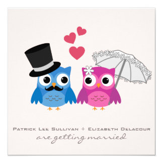 Cute Groom Owl and Bride Owl Wedding Invitation