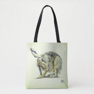 Cute grooming Hare - watercolour - 2 in 1 designs Tote Bag