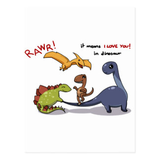 Cute Group of Dinosaurs Rawr Means We love you :) Postcard