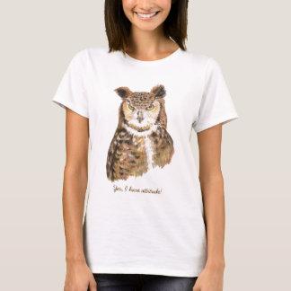 Cute Grumpy Owl with Attitude Ladies Tshirt