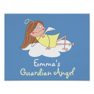Cute Guardian Angel Personalized Kids Room Posters