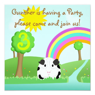 Cute Guinea Pig Cartoon River Scene Child's Party Card