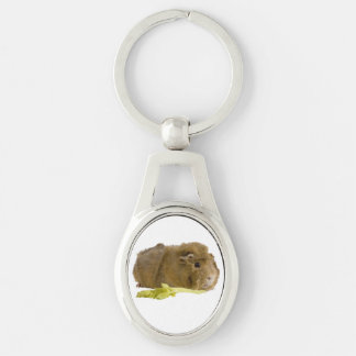 Cute Guinea Pig Close Up Photograph Silver-Colored Oval Key Ring