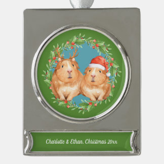 Cute Guinea Pig Couple Christmas Personalized Silver Plated Banner Ornament