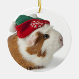 Cute Guinea Pig With Christmas Hat On White Christmas Ornament