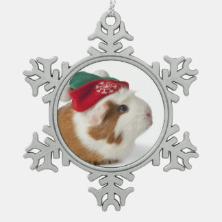 Cute Guinea Pig With Christmas Hat On White Snowflake Pewter Christmas Ornament