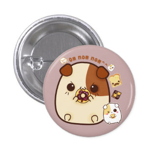 Cute guinea pigs with kawaii food 3 cm round badge