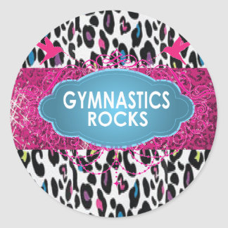 Cute Gymnastic Rocks Cheetah Pink SPARKLE Stickers