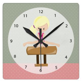 Cute gymnastics girl clocks
