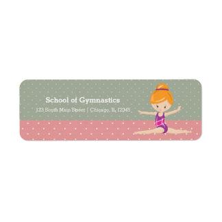 Cute gymnastics girl return address label