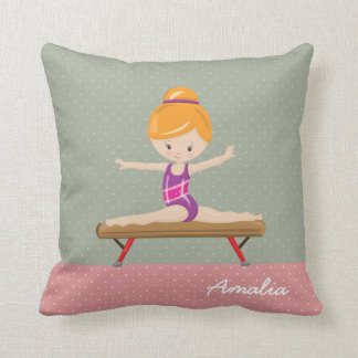 Cute gymnastics girl throw pillow