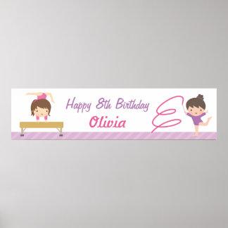 Cute Gymnastics Girls Birthday Party Banner Poster