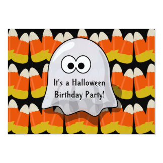 Cute Halloween Birthday Party Candy Corn Ghost 13 Cm X 18 Cm Invitation Card