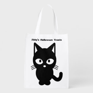 Cute Halloween Black Cat Customise It Reusable Grocery Bag