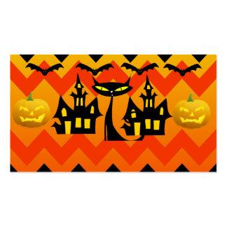 Cute Halloween Black Cat Haunted House Chevron Business Card Template