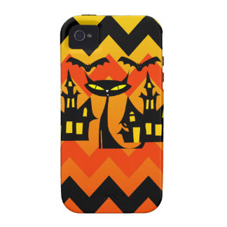 Cute Halloween Black Cat Haunted House Chevron iPhone 4 Covers