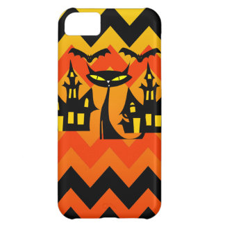 Cute Halloween Black Cat Haunted House Chevron iPhone 5C Cover