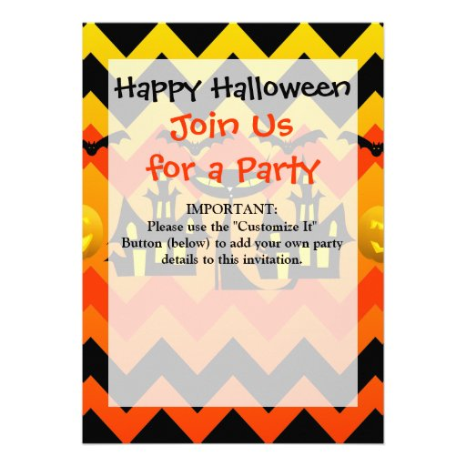 Cute Halloween Black Cat Haunted House Chevron Cards