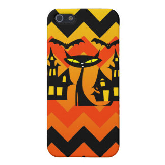 Cute Halloween Black Cat Haunted House Chevron iPhone 5 Cover